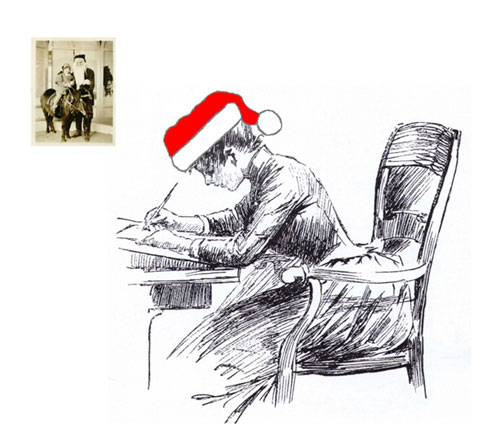 Lady with Santa Hat, Writing